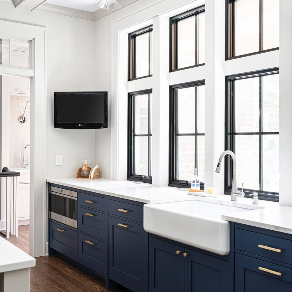 Indigo Batik on Lower Kitchen Cabinets by Donatelli Builders. Picture by Picture Perfect House