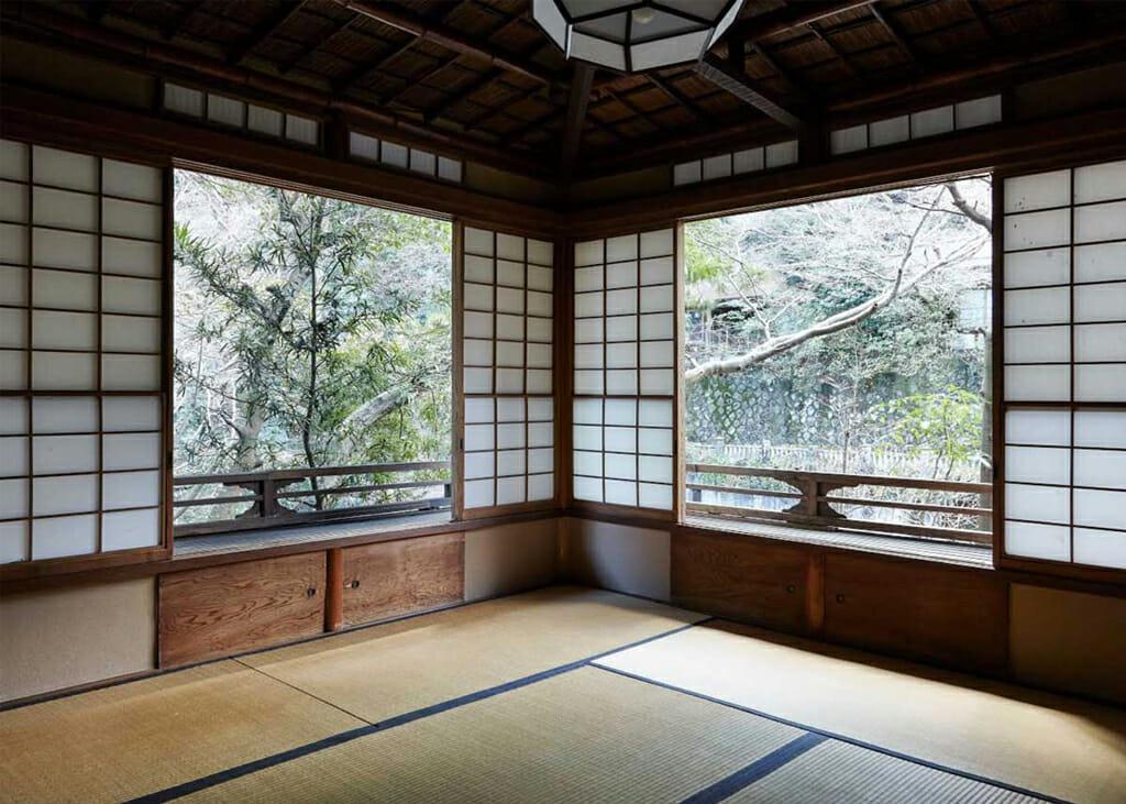 A Shoji Screen in use in the Seseragi room at Fukuzumiro in Japan